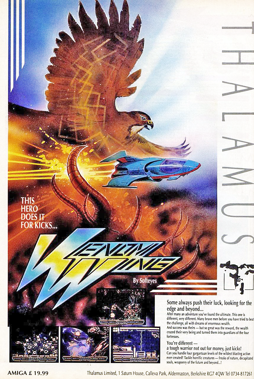Thalamus magazine advertisement for the Venom Wing Amiga game